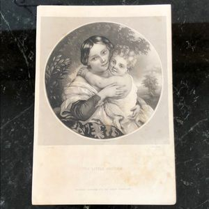 "The Little Brother 8"" x 5.5"" Antique Engraving"